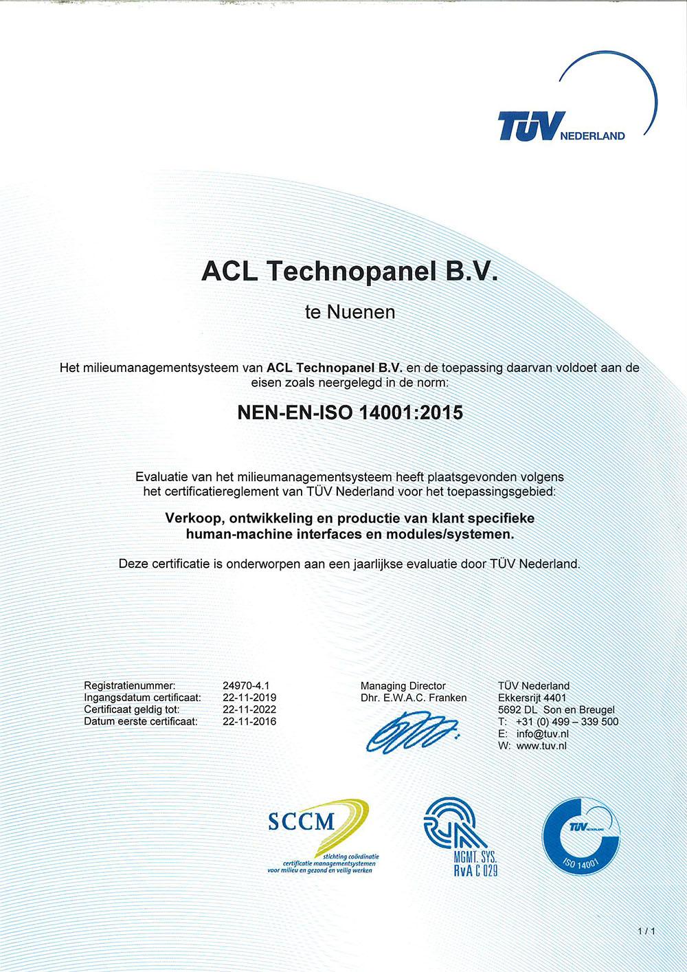 Certificaat ISO 14001:2015