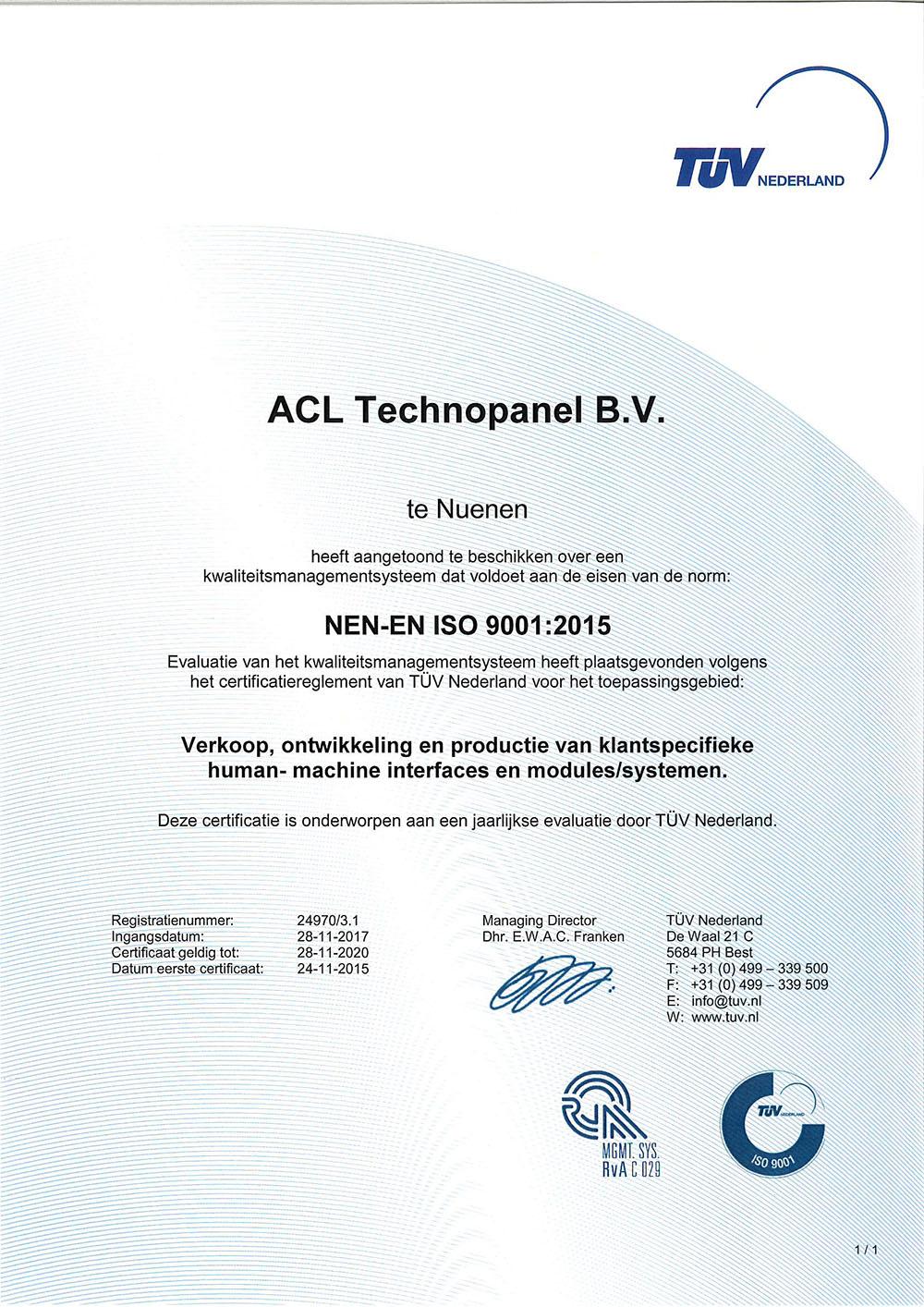 Certificaat ISO 9001:2015